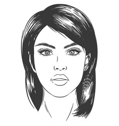 sketch woman face sexy beautiful brunette girl vector image