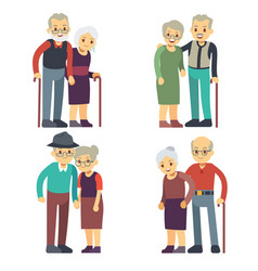 Smiling and happy old couples elderly families vector