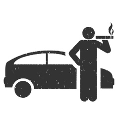 Smoking Taxi Driver Icon Rubber Stamp vector