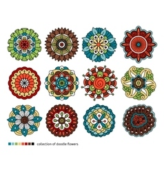 Spring doodle flower set vector