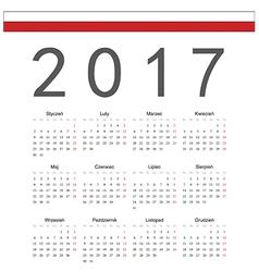 Square Polish 2017 year calendar vector