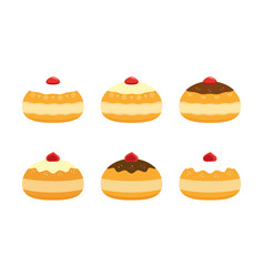 Sufganiyot doughnuts set for hanukkah vector
