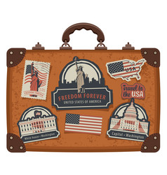 Suitcase with american symbols and monuments vector
