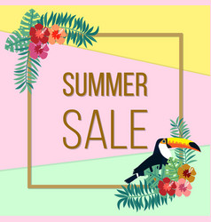 summer sale poster with color tropical leaves vector image