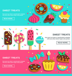 Sweets candies flat horizontal banners vector