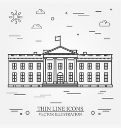 thin line icon white house vector image