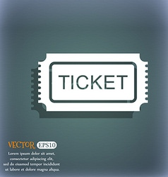 Ticket icon On the blue-green abstract background vector image