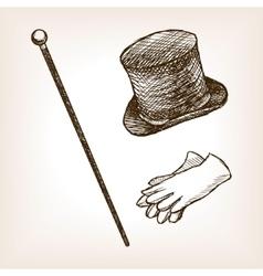 Vintage cylinder cane gloves sketch style vector