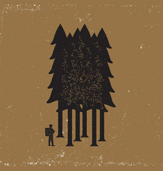 vintage emblem of tourist-traveler in forest vector image