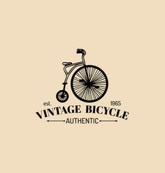 vintage hipster bicycle logo retro vector image