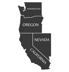 Washington - oregon - nevada - california map vector