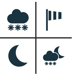 Weather icons set collection of snowy flag moon vector