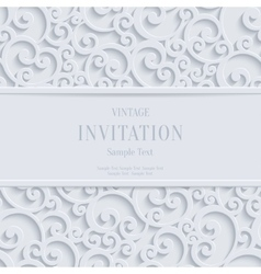 White 3d Vintage Christmas or Invitation vector image