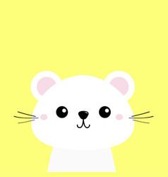 White animal cute kawaii cartoon character funny vector