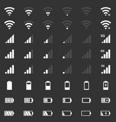 Wi-fi signal icons battery energy mobile signal vector
