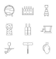 wine tradition icon set outline style vector image