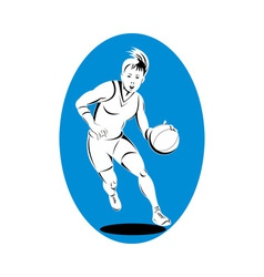 Woman basketball player dribbling ball vector