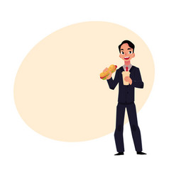 Young businessman in business suit eating sandwich vector