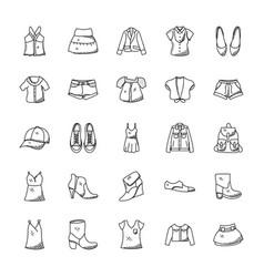hand drawn fashion icons vector image vector image