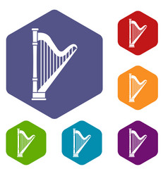 harp icons set vector image