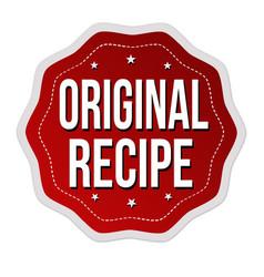 original recipe label or sticker vector image vector image