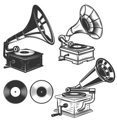 set of gramophone on white background design vector image
