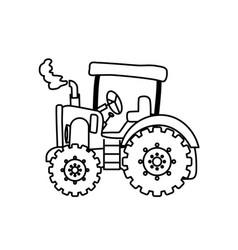 tractor farm machinery vector image vector image