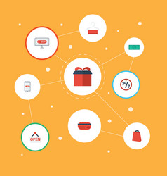 flat icons support present purchase and other vector image