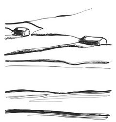 hand drawn of fields landscape vector image