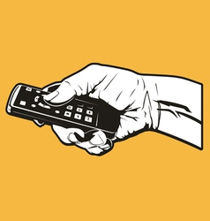 hand with remote control vector image vector image