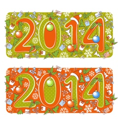 Two Christmas 2014 year cartoons vector image vector image