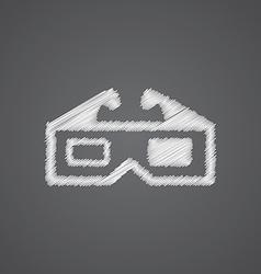3d movie sketch logo doodle icon vector image
