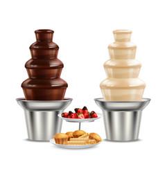 chocolate black white fountain realistic vector image