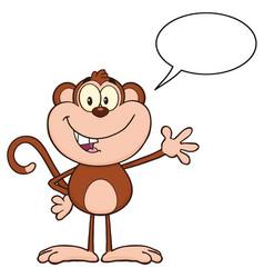 cute monkey cartoon character waving for greeting vector image
