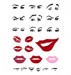 eyes and lips vector image