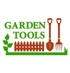 landscaping icon with garden tools vector image vector image