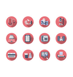 medical support flat round icons set vector image