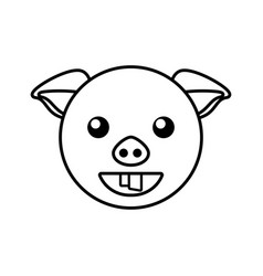 Pig face animal outline vector