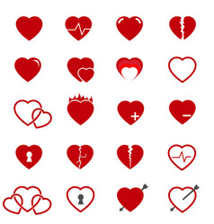 Red heart icons set vector