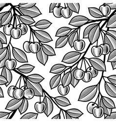 Seamless cherry background black and white vector