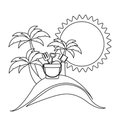 silhouette background beach with bucket tools vector image vector image