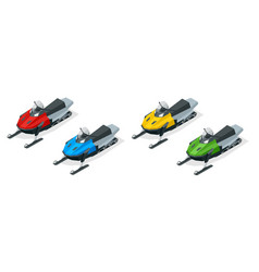 snowmobiles set isolated on white background vector image