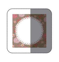 sticker decorative frame with pattern roses and vector image vector image