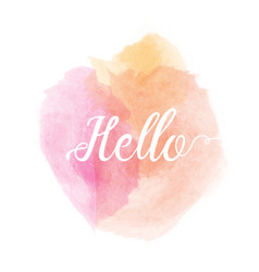 watercolor stain with hello quote vector image