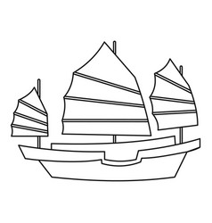 Chinese wooden sailing ship icon outline style vector