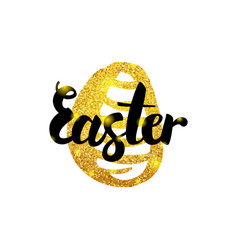 Easter gold inscription vector