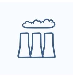 Factory pipes sketch icon vector image vector image