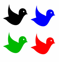 four birds in multiple colors vector image