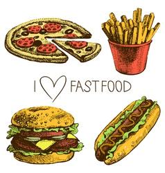Hand drawn fast food set vector image vector image