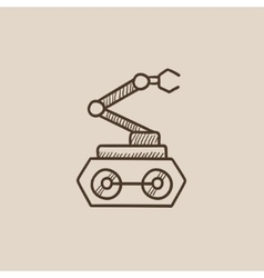 Industrial mechanical robot arm sketch icon vector image